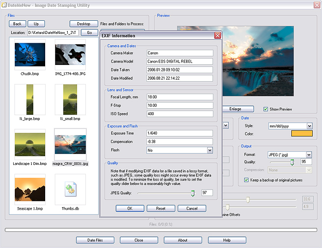 An easy-to-use date-stamping utility which prints creation dates on images.